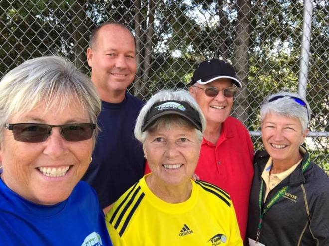 Teaching Jr Hi Pickleball at Eisenhower w/ Lisa Stevens. Connie, Dave and Jim