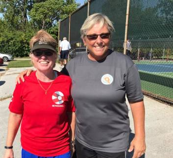 Claire and I sporting our GB Pickleball and Kent Pickleball shirts